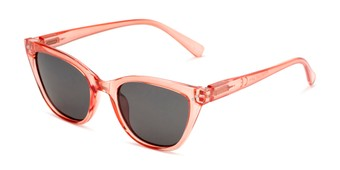 Angle of Jenny in Clear Red Frame with Smoke Lenses, Women's Cat Eye Sunglasses