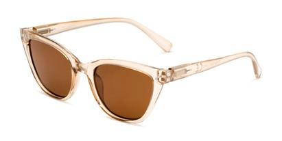 Angle of Jenny in Clear Brown Frame with Amber Lenses, Women's Cat Eye Sunglasses