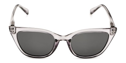 Front of Jenny in Clear Grey Frame with Smoke Lenses