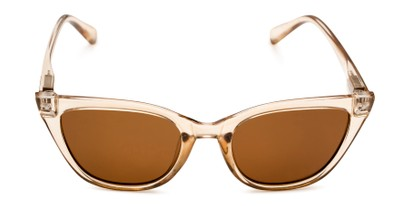 Front of Jenny in Clear Brown Frame with Amber Lenses