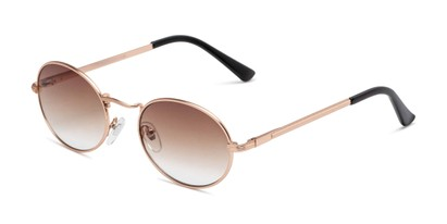 Angle of Karlie in Gold Frame with Amber Gradient Lenses, Women's Round Sunglasses