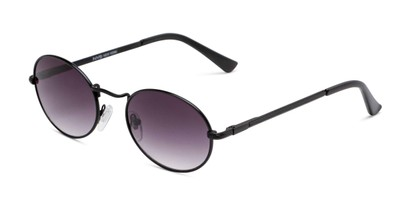 Angle of Karlie in Black Frame with Grey Gradient Lenses, Women's Round Sunglasses