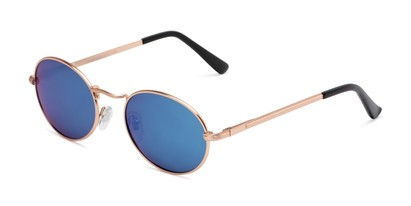 Angle of Karlie in Gold Frame with Blue Mirrored Lenses, Women's Round Sunglasses