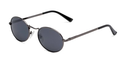 Angle of Karlie in Gunmetal Frame with Smoke Lenses, Women's Round Sunglasses