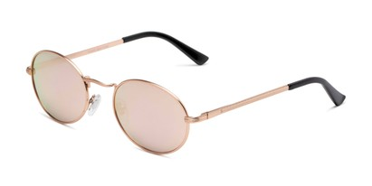 Angle of Karlie in Rose Gold Frame with Pink Mirrored Lenses, Women's Round Sunglasses