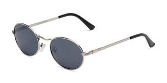 Angle of Karlie in Silver Frame with Smoke Lenses, Women's Round Sunglasses