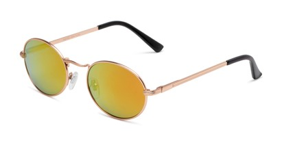 Angle of Karlie in Gold Frame with Yellow/Orange Mirrored Lenses, Women's Round Sunglasses