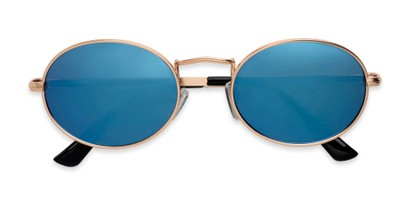Folded of Karlie in Gold Frame with Blue Mirrored Lenses