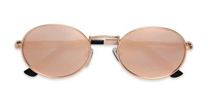 Folded of Karlie in Rose Gold Frame with Pink Mirrored Lenses