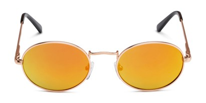 Front of Karlie in Gold Frame with Yellow/Orange Mirrored Lenses