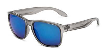 Angle of Ken in Translucent Grey Frame with Blue Mirrored Lenses, Men's Square Sunglasses