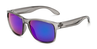 Angle of Ken in Translucent Grey Frame with Blue/Green Mirrored Lenses, Men's Square Sunglasses