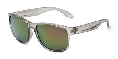 Angle of Ken in Translucent Grey Frame with Purple/Green Mirrored Lenses, Men's Square Sunglasses