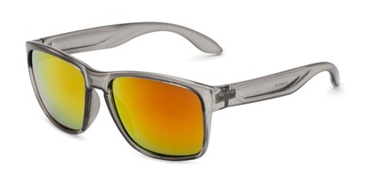 Angle of Ken in Translucent Grey Frame with Red/Orange Mirrored Lenses, Men's Square Sunglasses