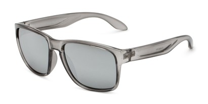 Angle of Ken in Translucent Grey Frame with Silver Mirrored Lenses, Men's Square Sunglasses