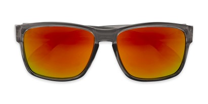 Folded of Ken in Translucent Grey Frame with Red/Orange Mirrored Lenses