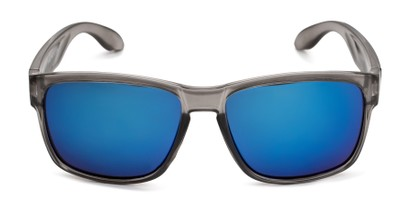 Front of Ken in Translucent Grey Frame with Blue Mirrored Lenses