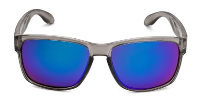 Front of Ken in Translucent Grey Frame with Blue/Green Mirrored Lenses