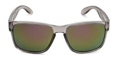 Front of Ken in Translucent Grey Frame with Purple/Green Mirrored Lenses