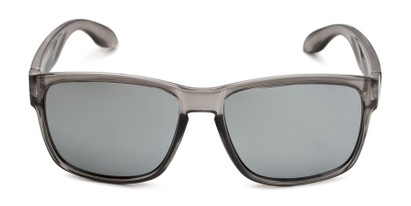 Front of Ken in Translucent Grey Frame with Silver Mirrored Lenses
