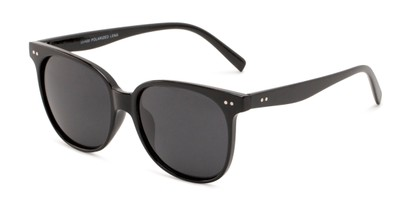 Angle of Kendra in Black Frame with Smoke Lenses, Women's Round Sunglasses