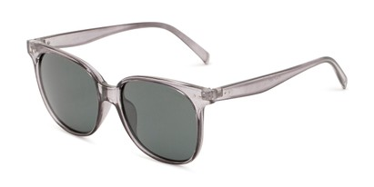 Angle of Kendra in Clear Grey Frame with Green Lenses, Women's Round Sunglasses