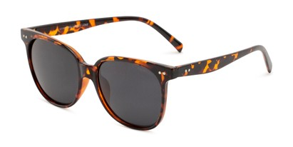 Angle of Kendra in Tortoise Frame with Smoke Lenses, Women's Round Sunglasses
