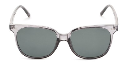 Front of Kendra in Clear Grey Frame with Green Lenses