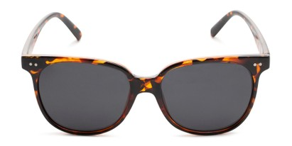Front of Kendra in Tortoise Frame with Smoke Lenses