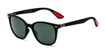 Angle of Landry in Black/Red Frame with Green Lenses, Women's and Men's Retro Square Sunglasses