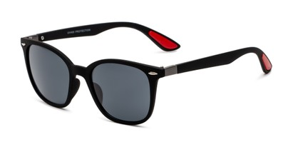 Angle of Landry in Black/Red Frame with Smoke Lenses, Women's and Men's Retro Square Sunglasses