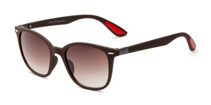 Angle of Landry in Brown/Red Frame with Amber Gradient Lenses, Women's and Men's Retro Square Sunglasses