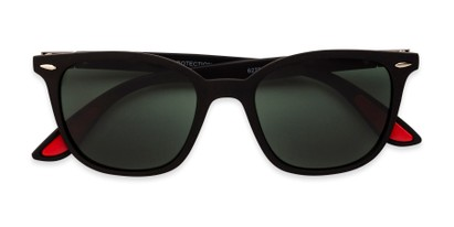 Folded of Landry in Black/Red Frame with Green Lenses
