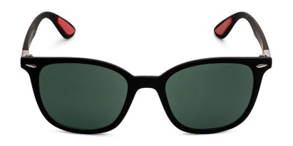 Front of Landry in Black/Red Frame with Green Lenses