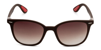 Front of Landry in Brown/Red Frame with Amber Gradient Lenses