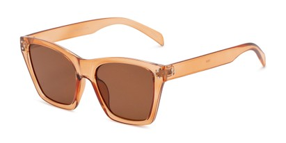 Angle of Lucy in Clear Pink Frame with Amber Lenses, Women's Square Sunglasses