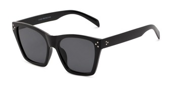 Angle of Lucy in Black Frame with Smoke Lenses, Women's Square Sunglasses