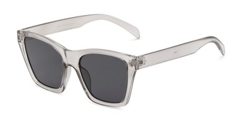 Angle of Lucy in Clear Grey Frame with Smoke Lenses, Women's Square Sunglasses