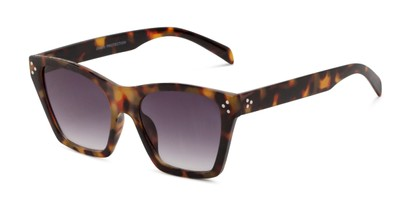 Angle of Lucy in Dark Tortoise Frame with Grey Gradient Lenses, Women's Square Sunglasses