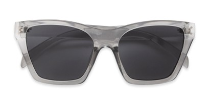 Folded of Lucy in Clear Grey Frame with Smoke Lenses