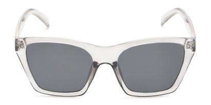 Front of Lucy in Clear Grey Frame with Smoke Lenses
