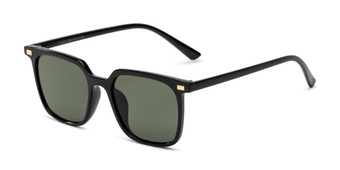 Angle of Manny in Black Frame with Green Lenses, Women's and Men's Square Sunglasses