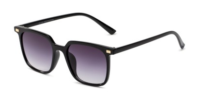 Angle of Manny in Black Frame with Smoke Gradient Lenses, Women's and Men's Square Sunglasses