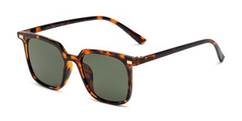 Angle of Manny in Brown Tortoise Frame with Green Lenses, Women's and Men's Square Sunglasses