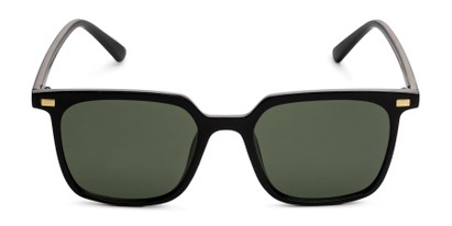 Front of Manny in Black Frame with Green Lenses