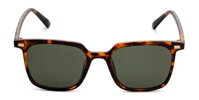 Front of Manny in Brown Tortoise Frame with Green Lenses