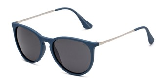 Angle of Marco in Matte Blue/Silver Frame with Smoke Lenses, Men's Round Sunglasses
