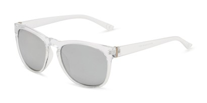 Angle of Mariah by Foster Grant in Clear Frame with Silver Mirrored Lenses, Women's Retro Square Sunglasses