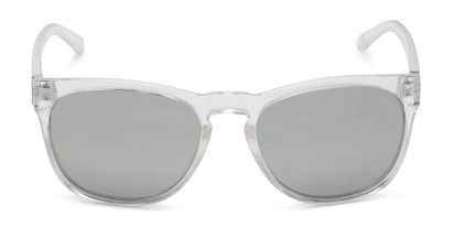 Front of Mariah by Foster Grant in Clear Frame with Silver Mirrored Lenses
