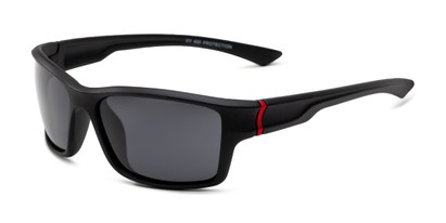 Angle of Mitchell in Black/Red Frame with Smoke Lenses, Men's Sport & Wrap-Around Sunglasses